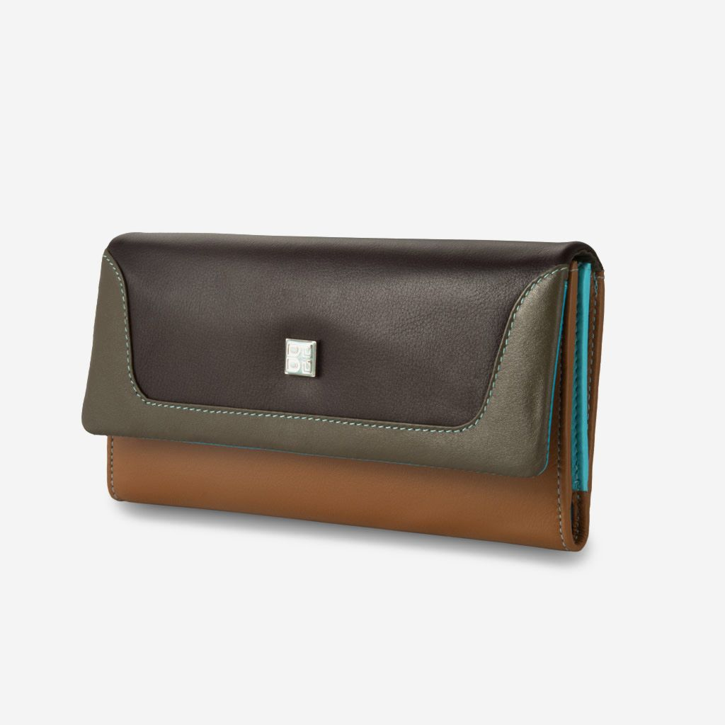 DuDu Colorful Leather Wallet For Women - Brown