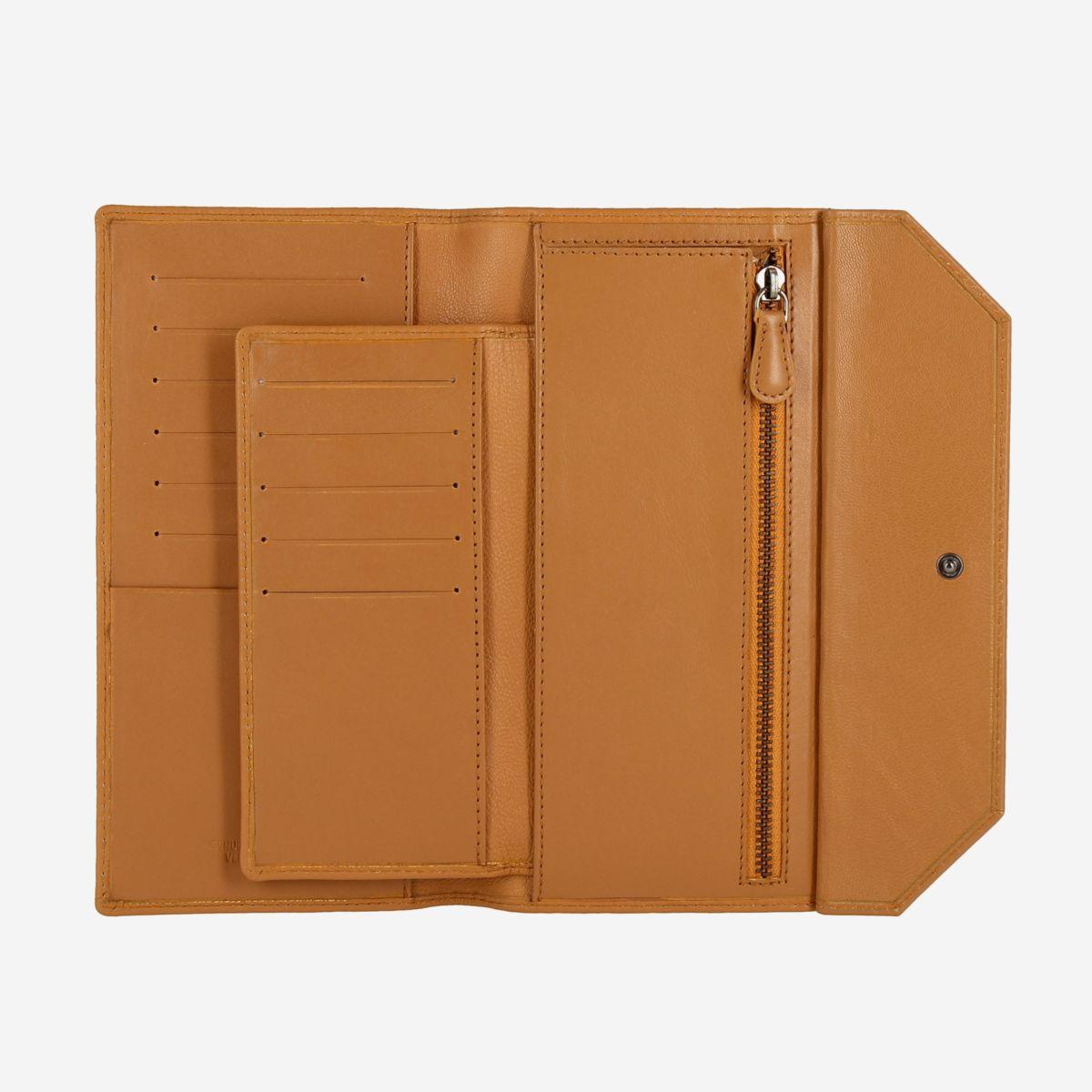 DuDu Ladies Envelope Leather Clutch Wallet Purse  - Buff