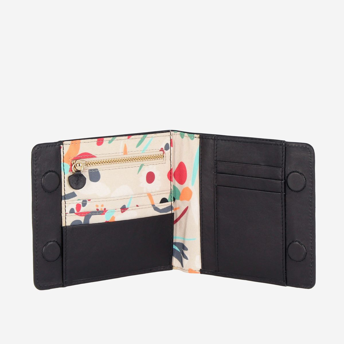 DuDu Designer Womens Leather Wallet With Magnetic Closure - Black