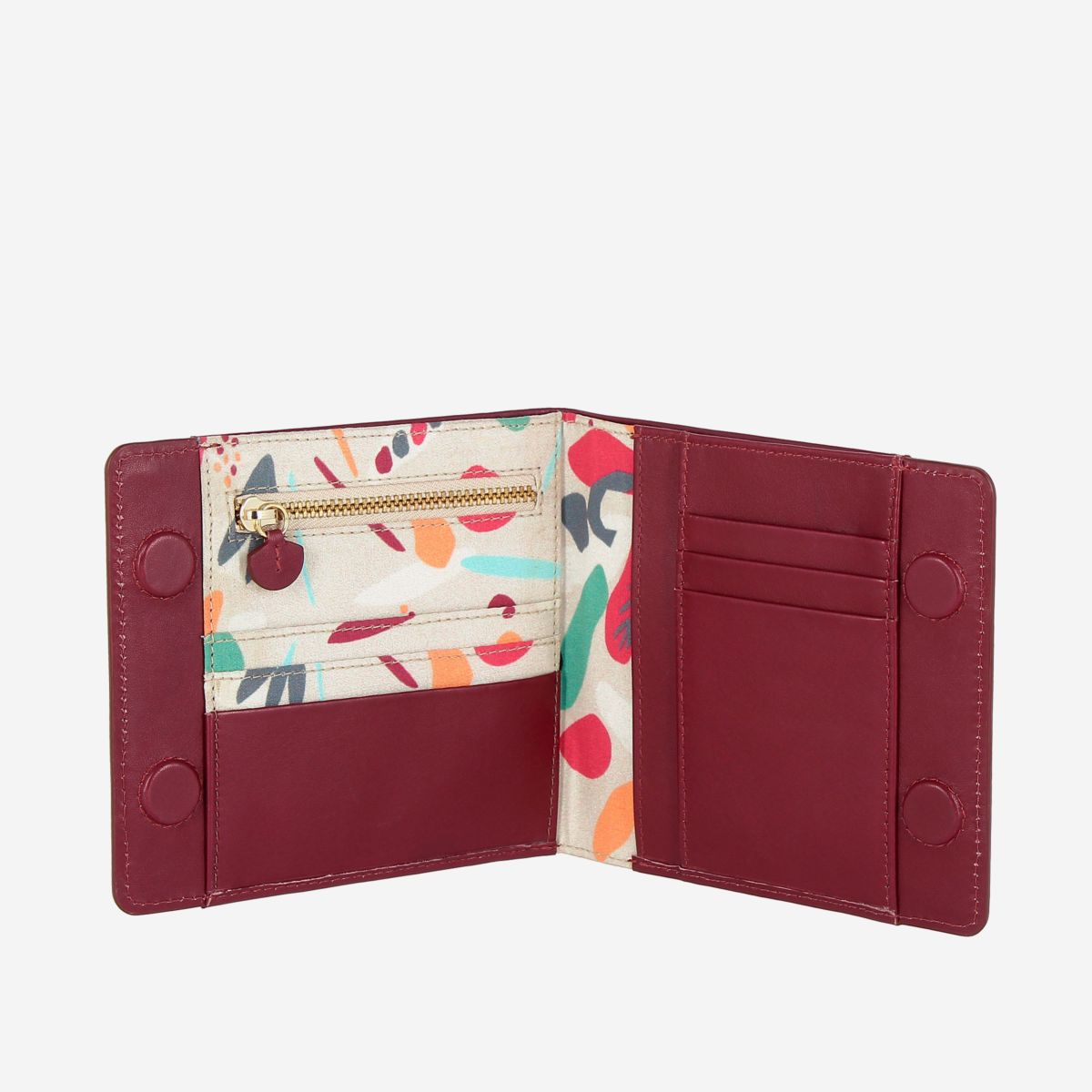 DuDu Designer Womens Leather Wallet With Magnetic Closure - Bordeaux