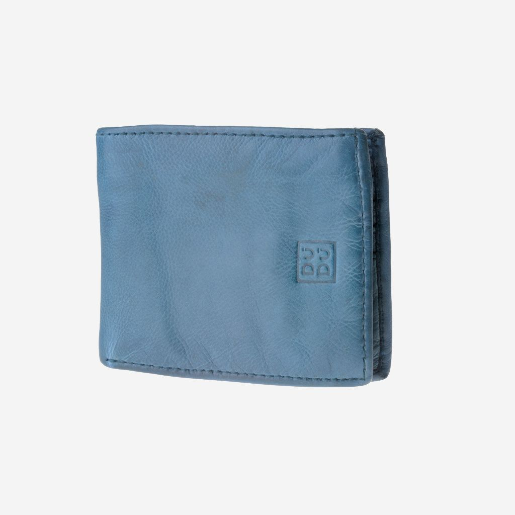 Mans hand-made soft natural high quality leather wallet - Blue