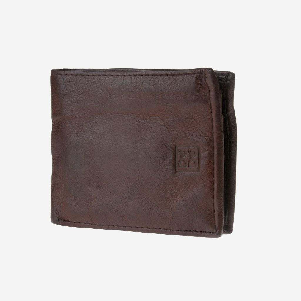 DuDu Mans hand-made soft natural high quality leather wallet - Cocoa Brown