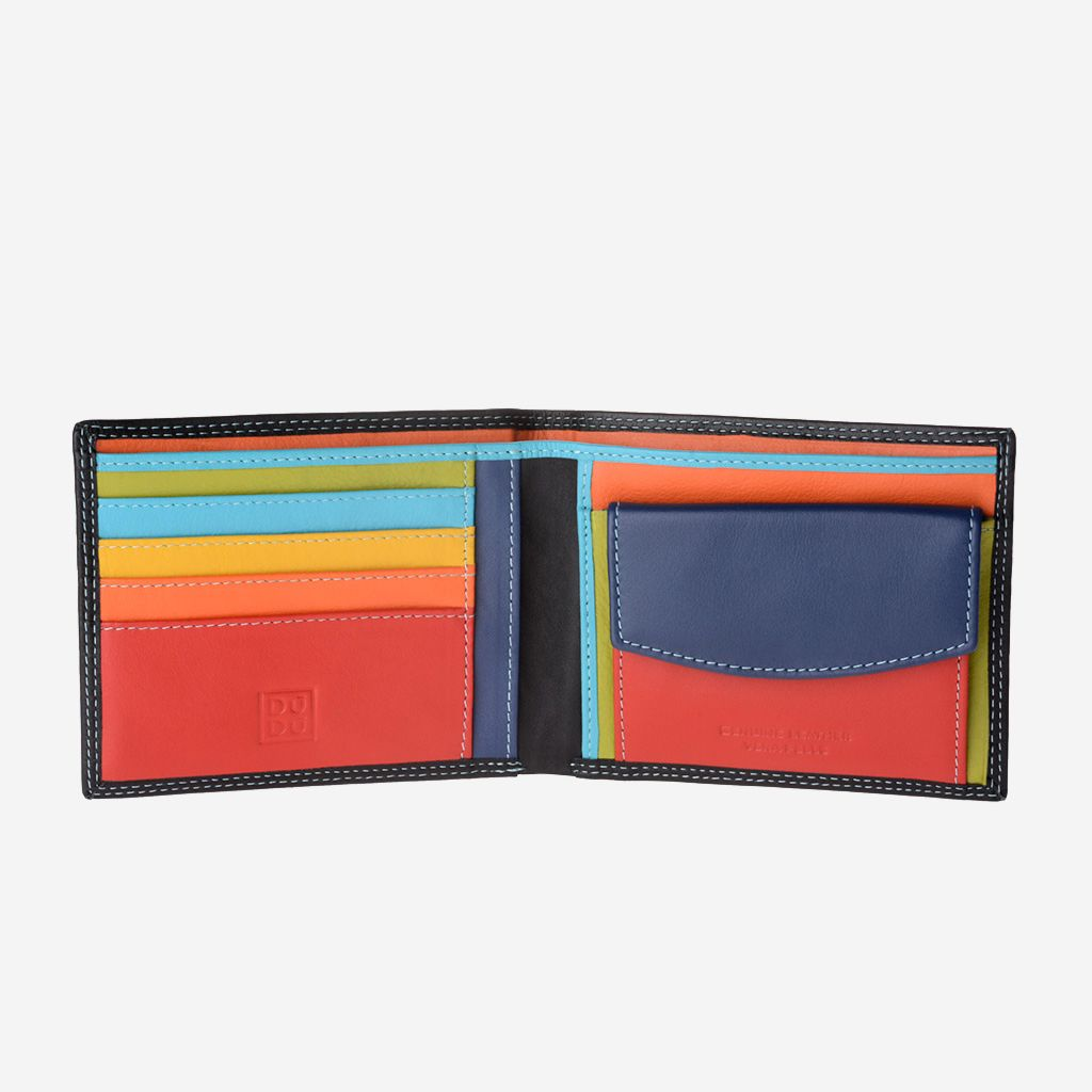 Slim Leather Multi Color Callet With Coin Purse - Black