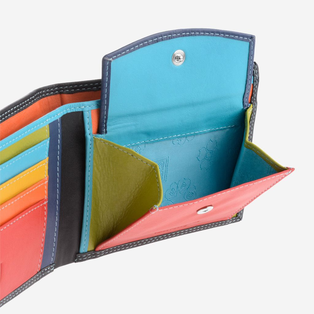 DuDu Slim Leather Multi Color Callet With Coin Purse - Black