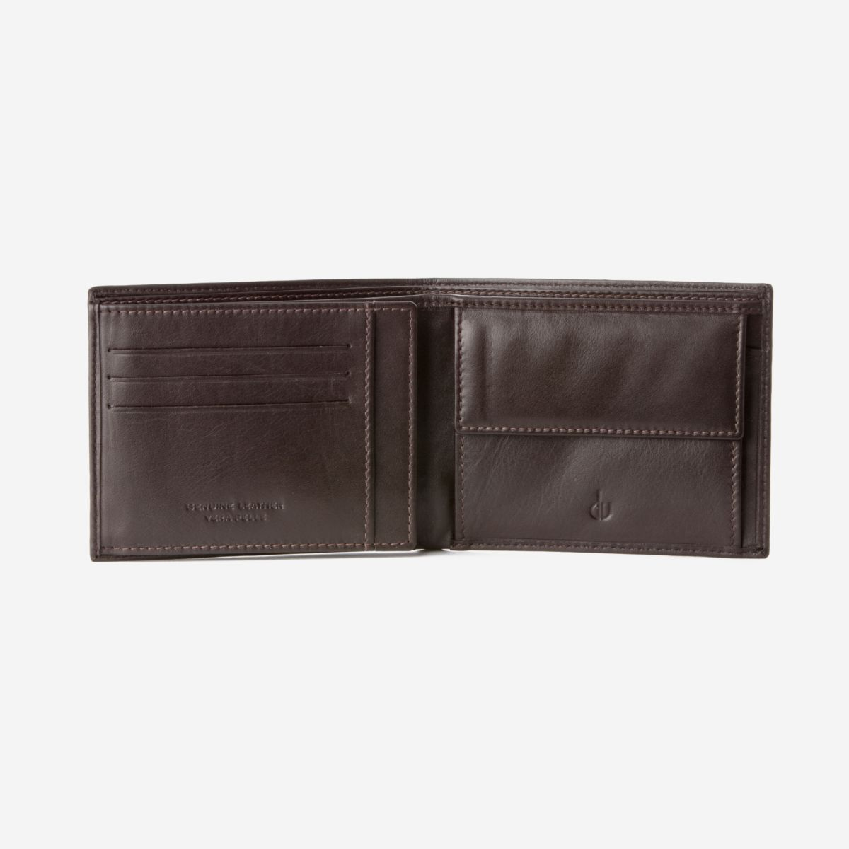 Classic Leather Wallet With Coin Pocket - Dark Brown