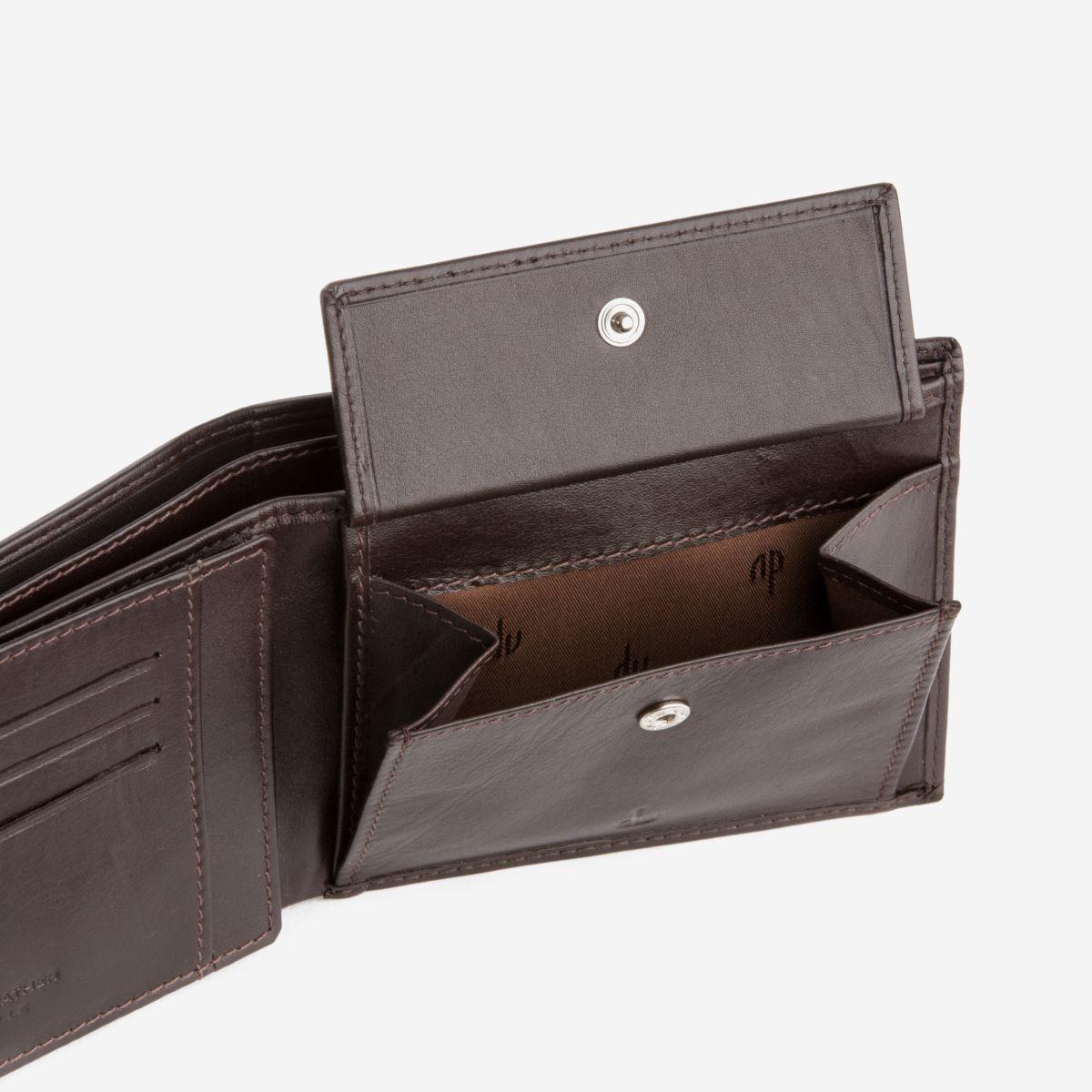 dv ארנק עור קלאסי עם תא למטבעות - חום כהה