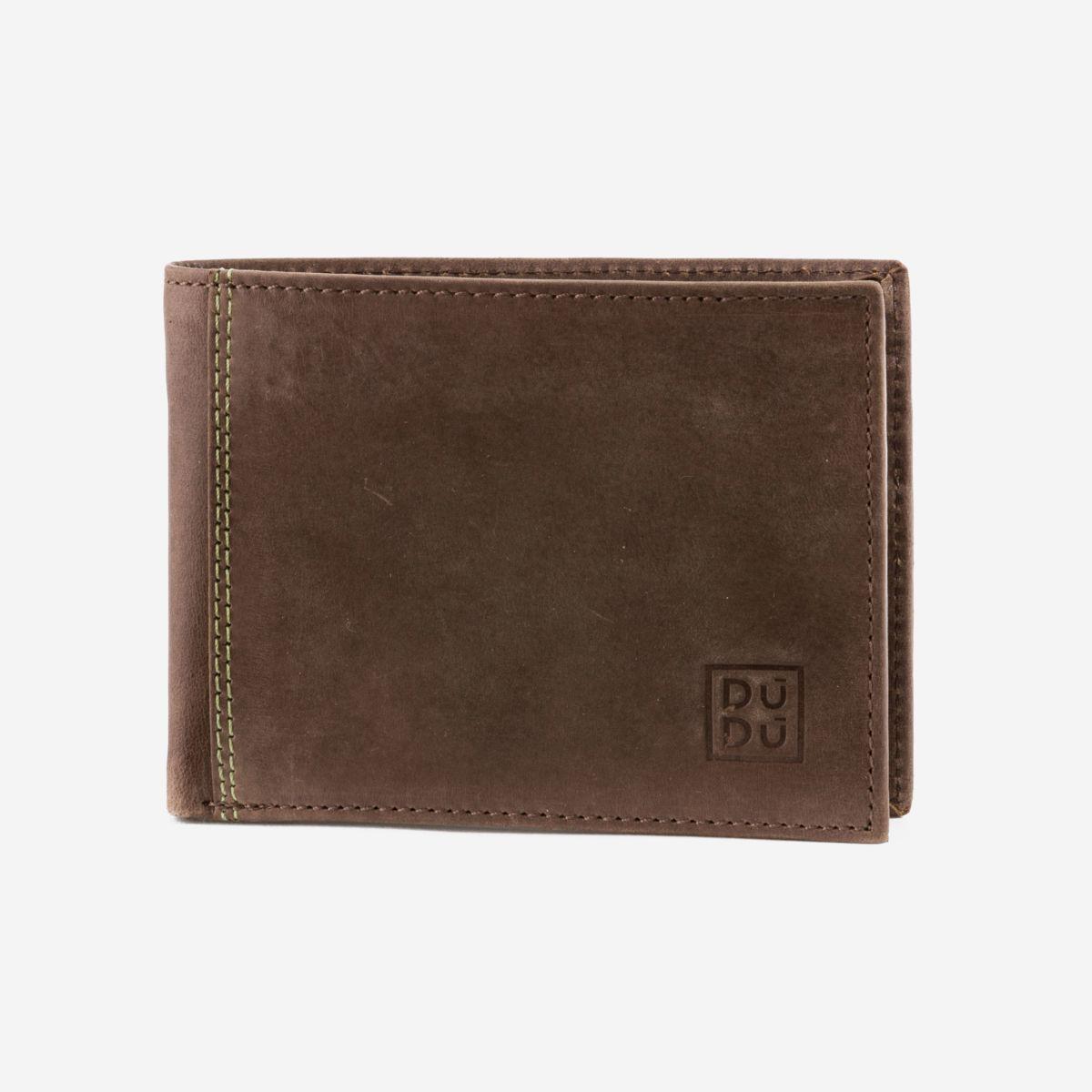 DuDu Vintage Slim Leather Wallet - Dark Brown