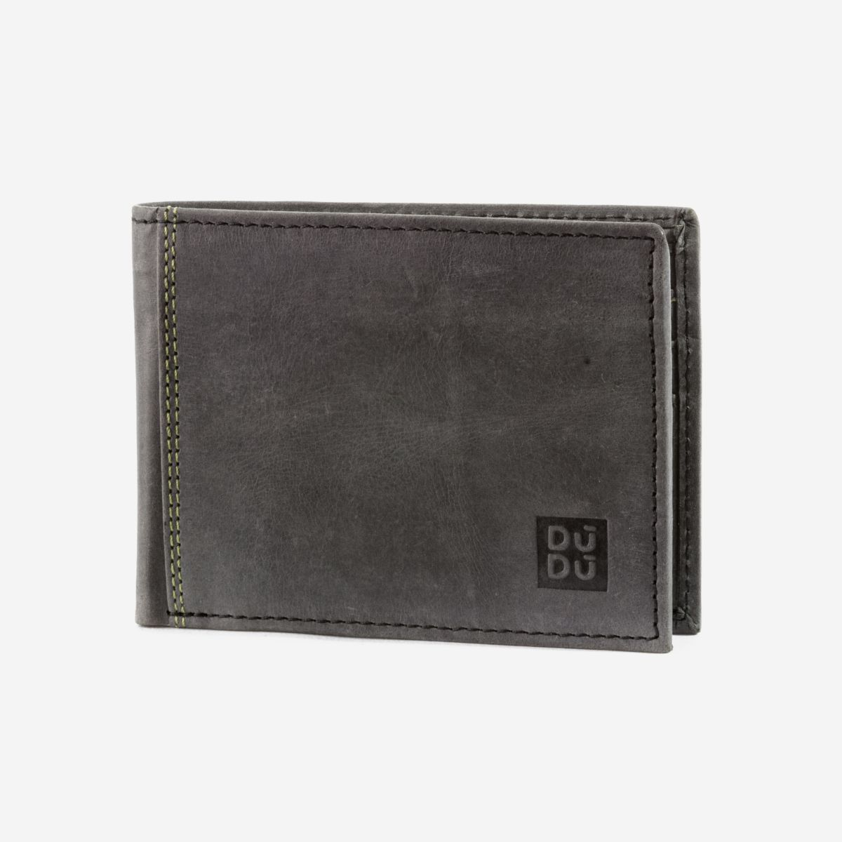 DuDu Vintage Slim Leather Wallet - Black