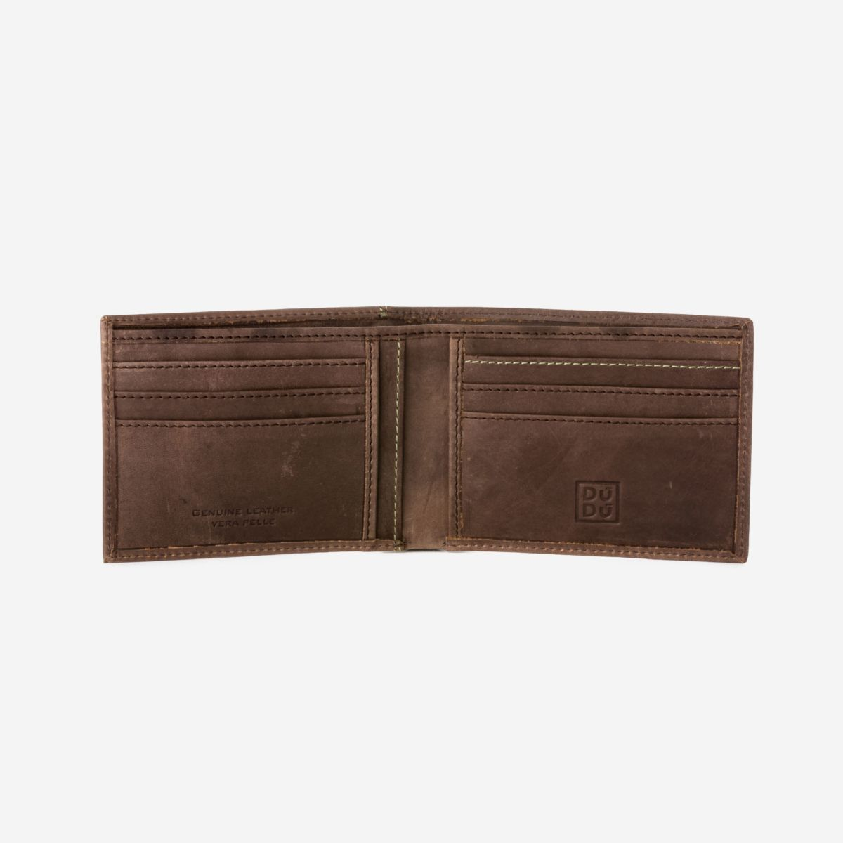 DuDu Vintage Slim Leather Wallet - Dark Brown
