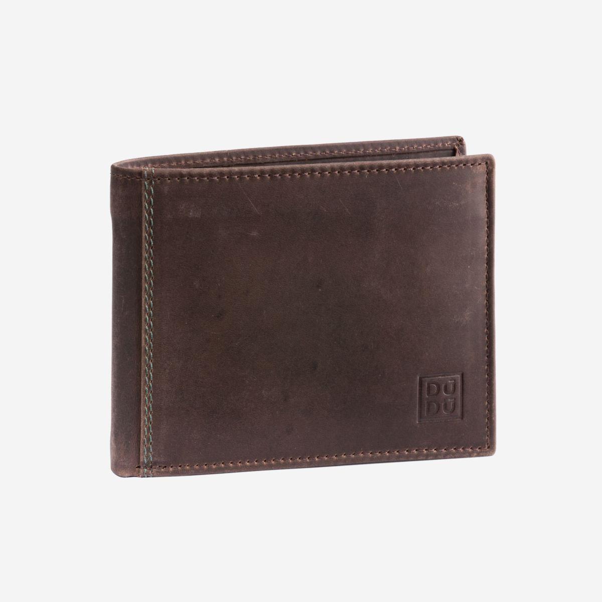 DuDu Classic Mans Billfold Wallet with Coin Pocket - Dark Brown
