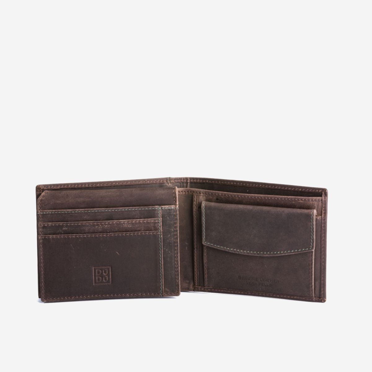 DuDu Classic Mans Billfold Wallet with Coin Pocket - Dark Brown