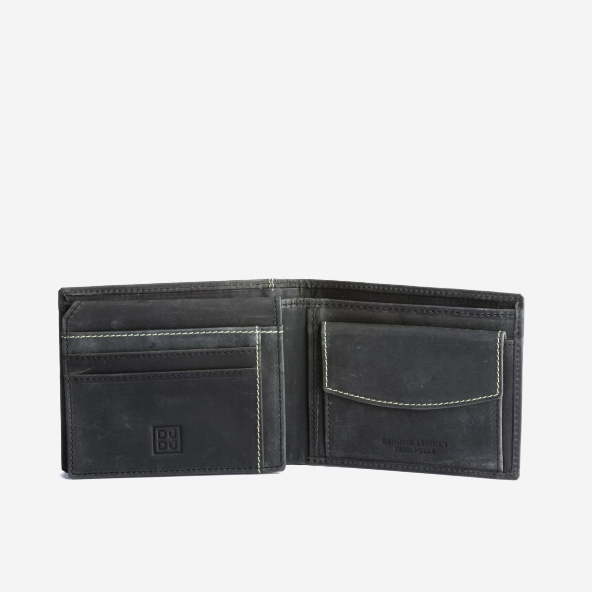 DuDu Classic Mans Billfold Wallet with Coin Pocket - Black