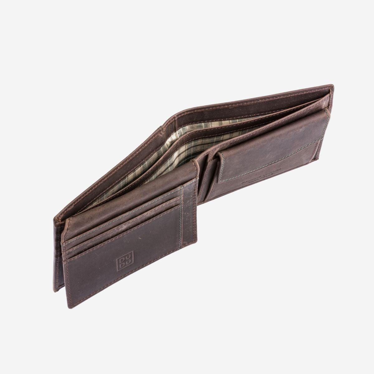 DuDu ארנק עור במראה וינטג עם תא למטבעות - חום כהה