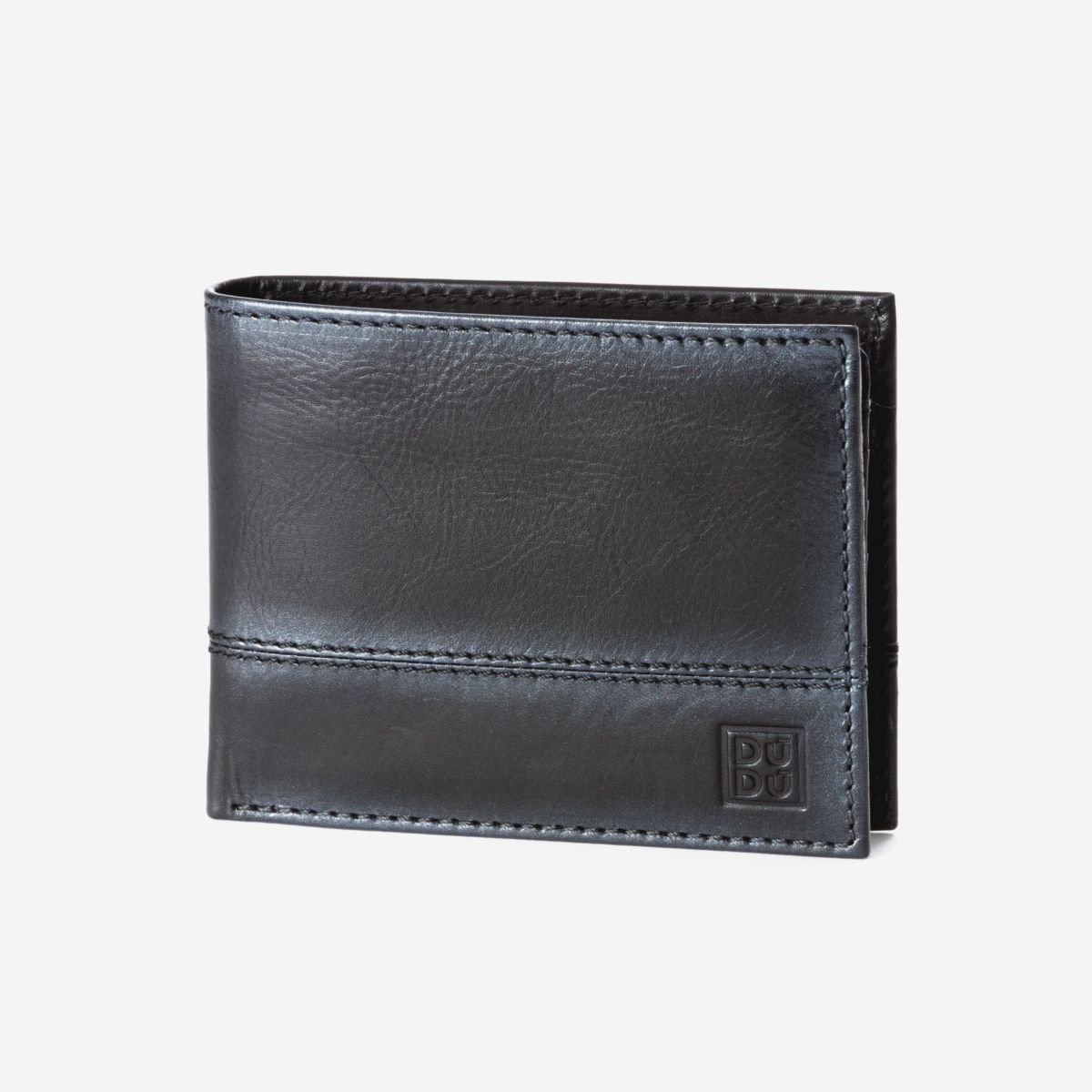 Leather Wallet With Coin Pocket For Men - Black