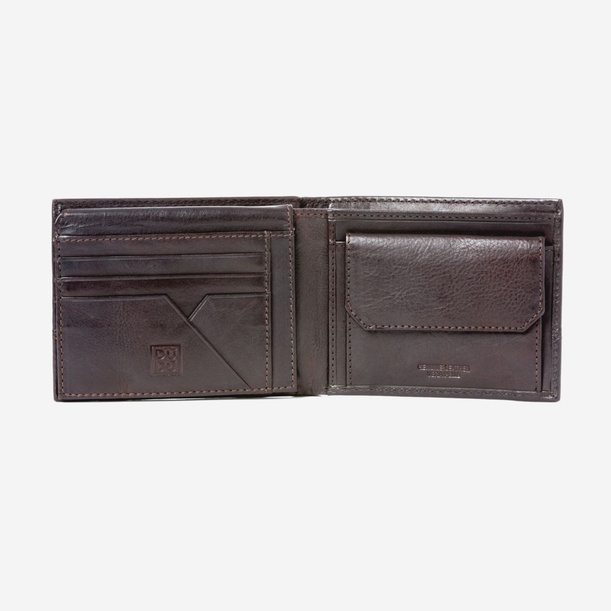 DuDu Leather Wallet With Coin Pocket For Men - Dark Brown