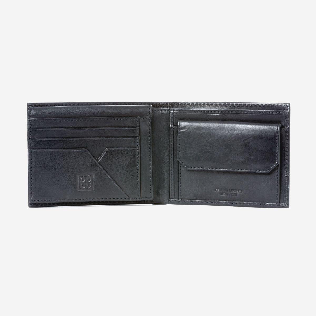 DuDu ארנק עור לגבר עם תא למטבעות - שחור