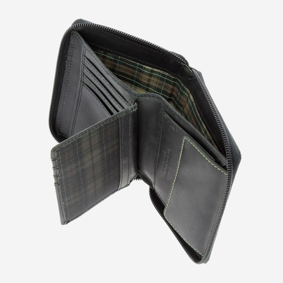 DuDu Mens Leather Wallet with Zip - Black