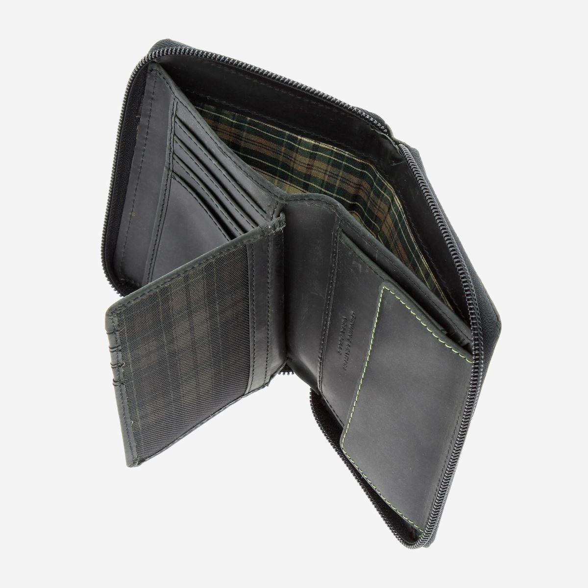 DuDu ארנק עור איטלקי עם רוכסן - שחור