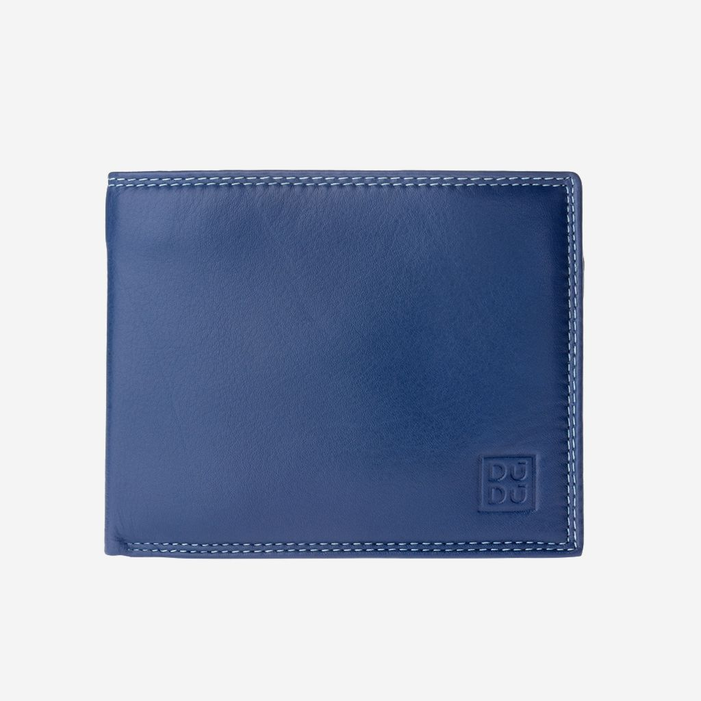 DuDu Slim Leather Multi Color Callet With Coin Purse - Blue