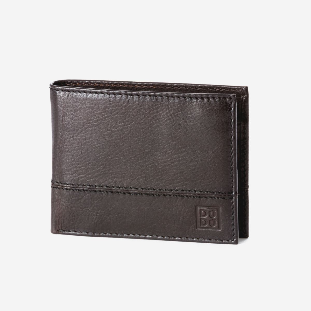 DuDu Mens Leather Wallet with Coin Pocket - Dark Brown