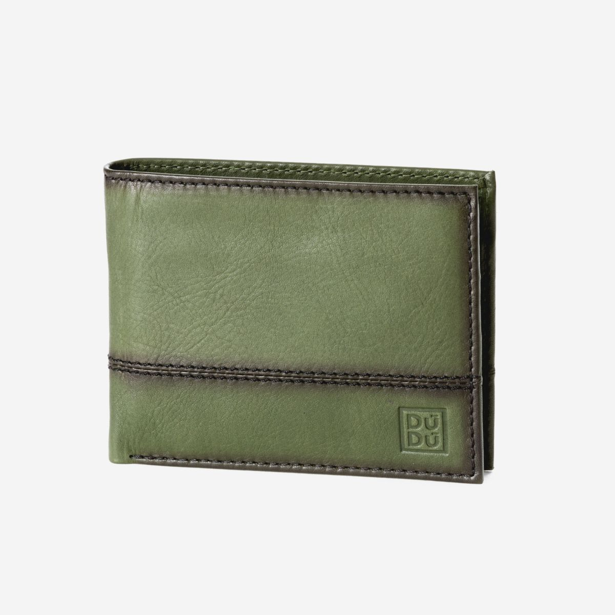 Mens Leather Wallet with Coin Pocket - Green