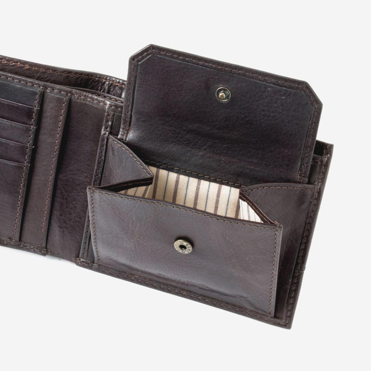 DuDu ארנק עור איכותי עם תא למטבעות - חום כהה