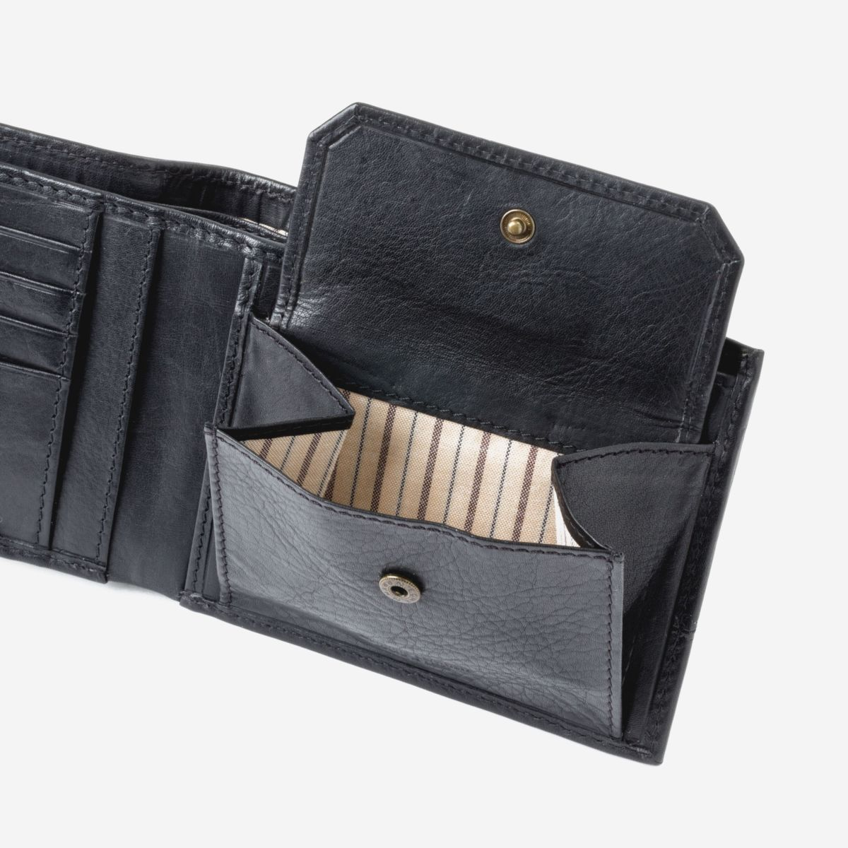 DuDu Mens Leather Wallet with Coin Pocket - Black