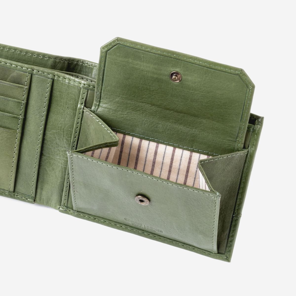 DuDu Mens Leather Wallet with Coin Pocket - Green