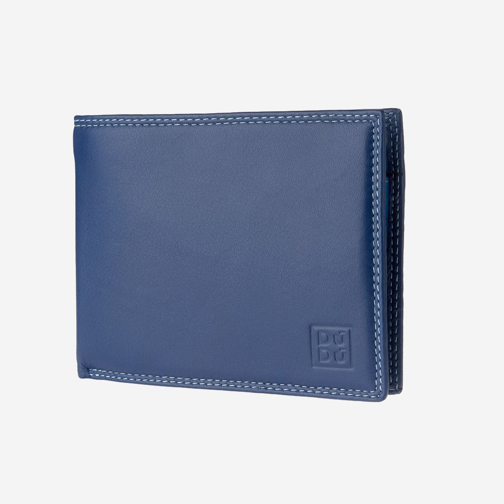 DuDu Leather classic multi color wallet with coin purse and inside flap with RFID - Blue