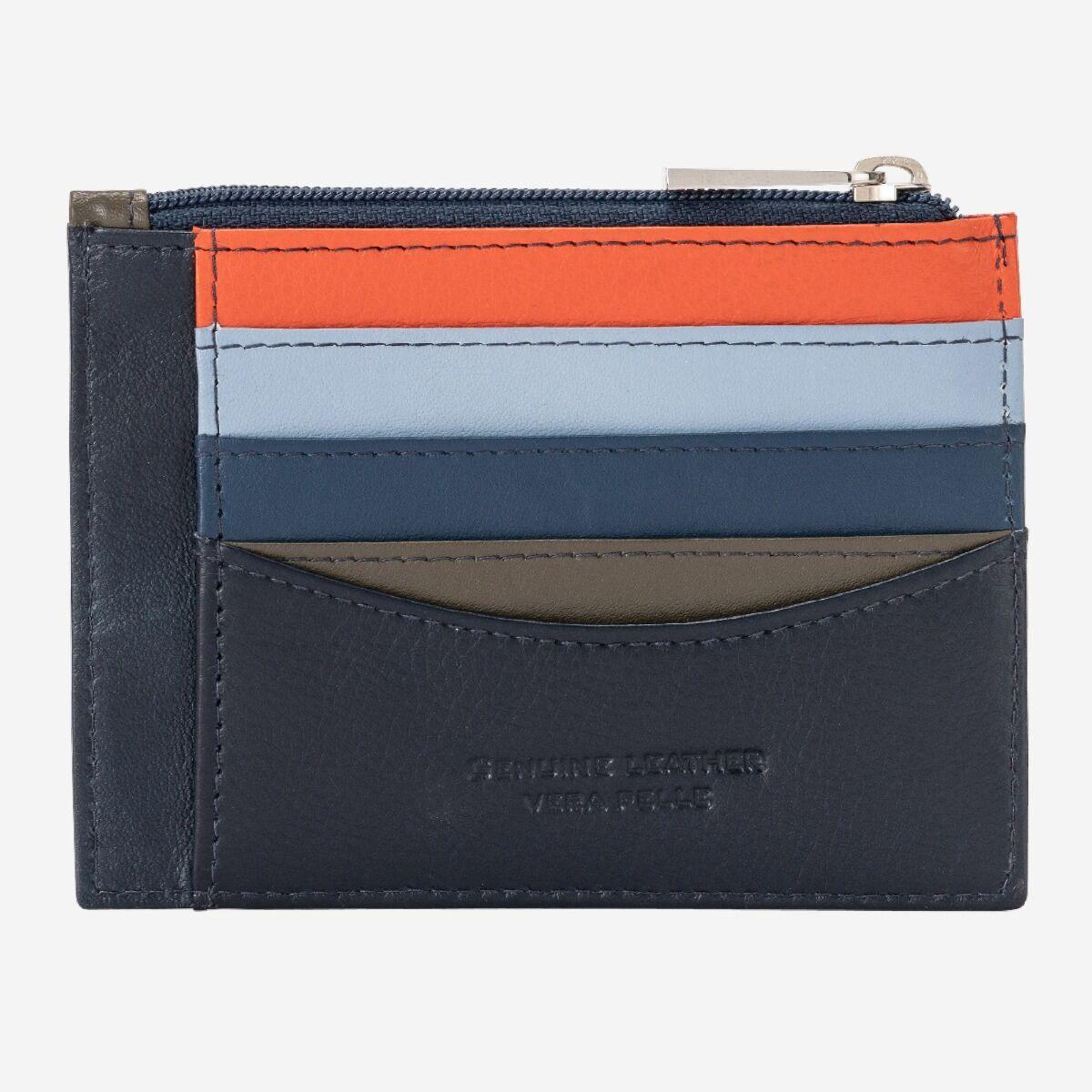 DuDu Slim Leather Credit Card Wallet - Blue