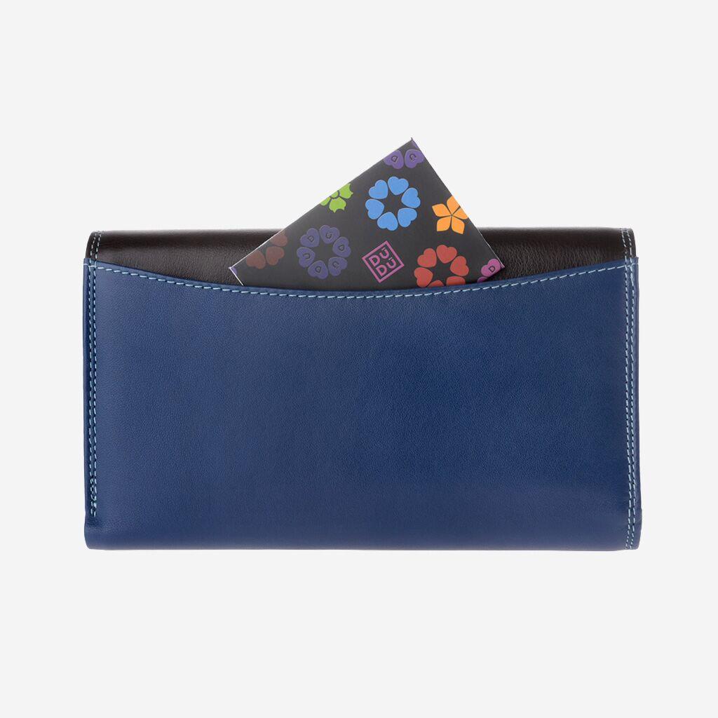 DuDu ארנק עור איטלקי צבעוני לאישה - כחול\סגול