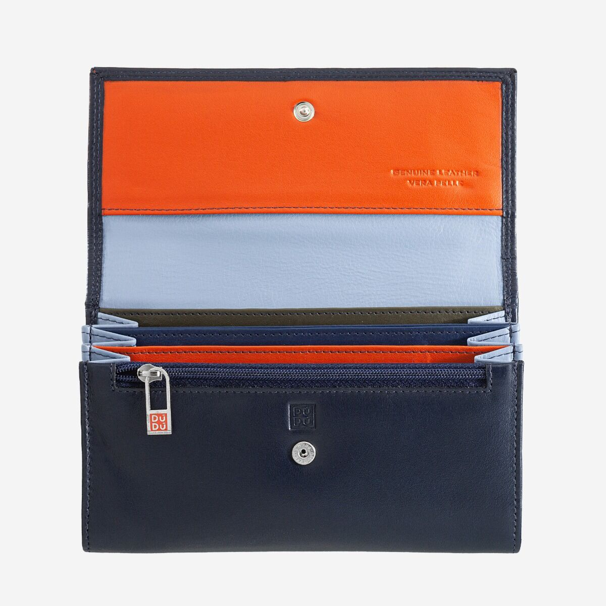 DuDu Womans leather multi color wallet with flap - Navy