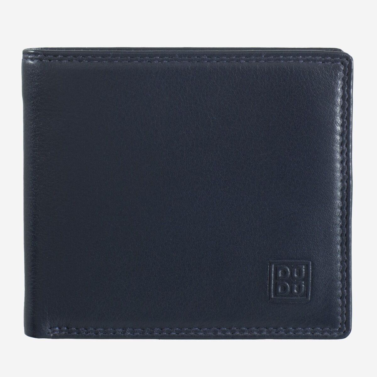 DuDu ארנק עור עם תא למטבעות - כחול נייבי