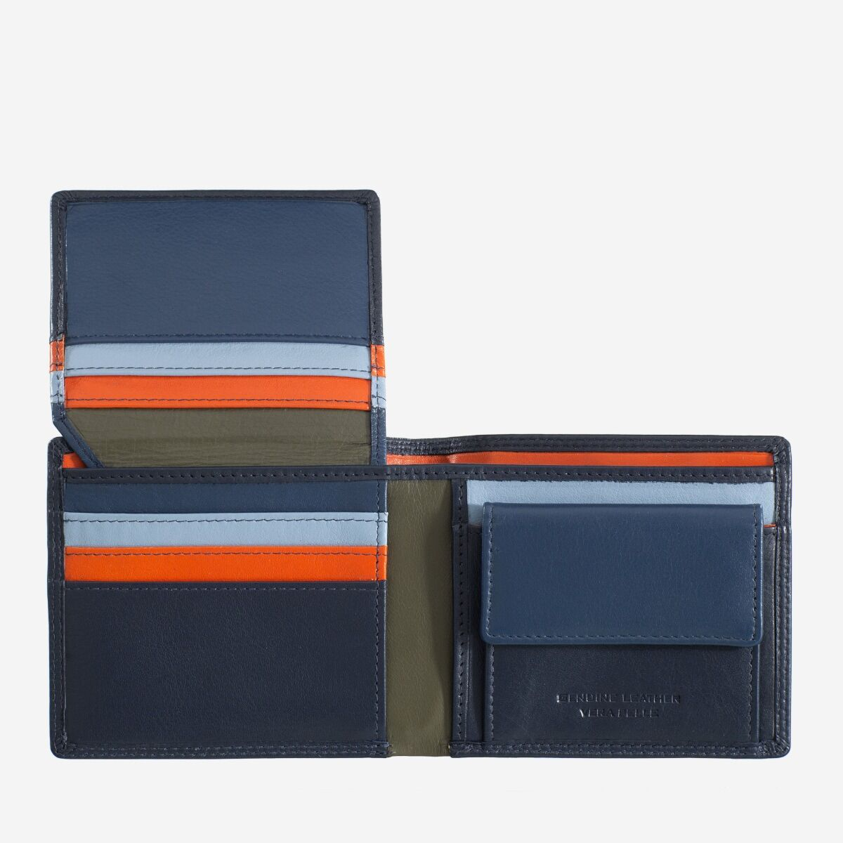 Mans genuine leather wallet - Navy
