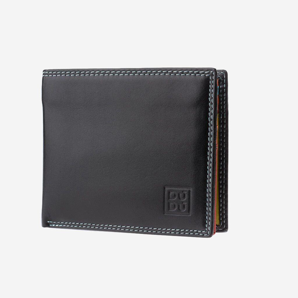 DuDu ארנק עור עם RFID ותא למטבעות - שחור