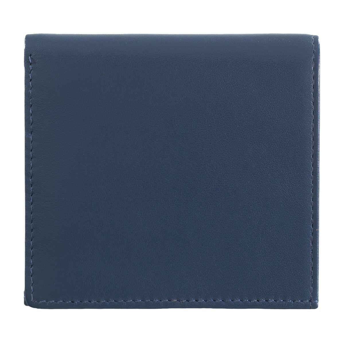 DuDu ארנק עור צבעוני עם תא ייחודי למטבעות - כחול כהה