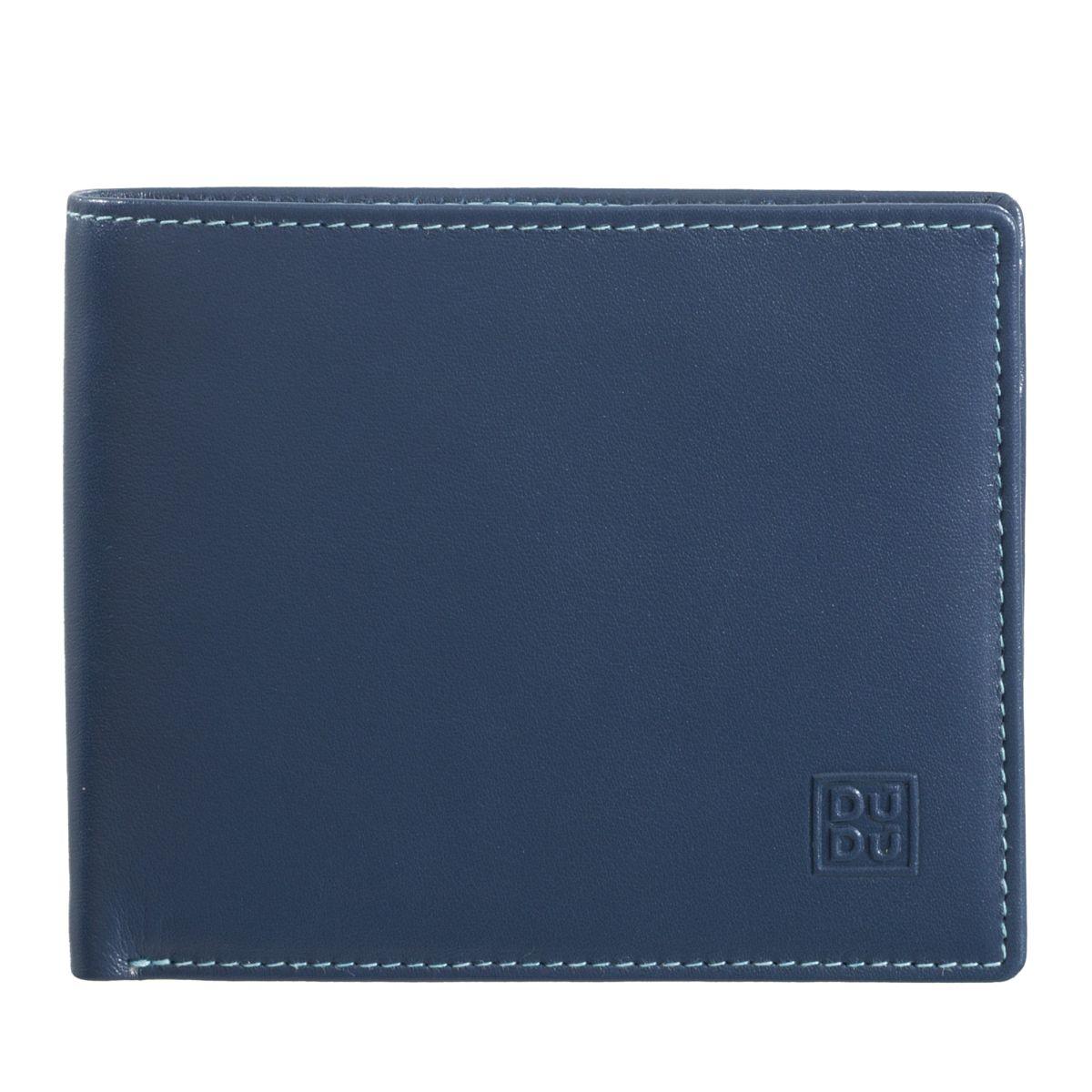 DuDu ארנק עור שילובי צבעים עם תא למטבעות - כחול