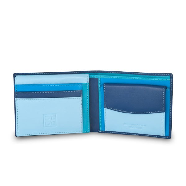 Leather classic multi color wallet with coin purse and inside flap - Blue