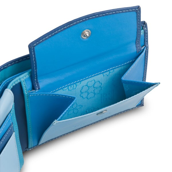 DuDu Leather classic multi color wallet with coin purse and inside flap - Blue