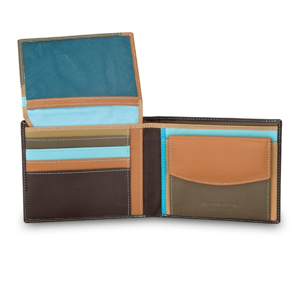 DuDu Leather classic multi color wallet with coin purse and inside flap - Dark Brown