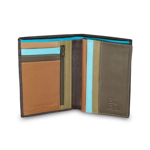 DuDu Mans leather folding wallet with inner zip - Dark Brown