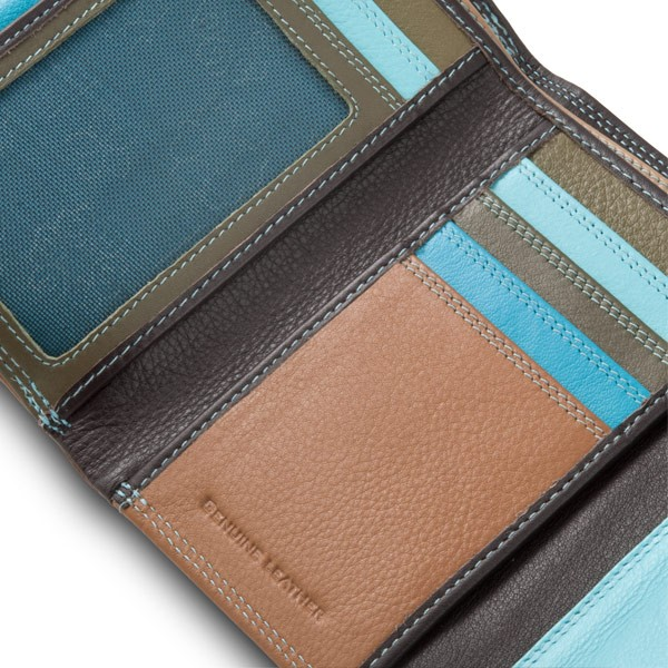 DuDu Leather multi color wallet with double flap - Dark Brown