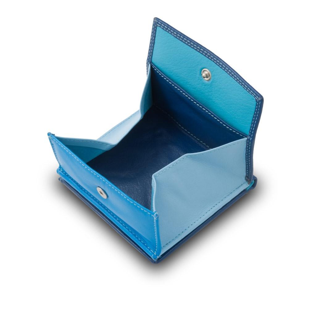 DuDu ארנק עור צבעוני עם תא ייחודי למטבעות - כחול
