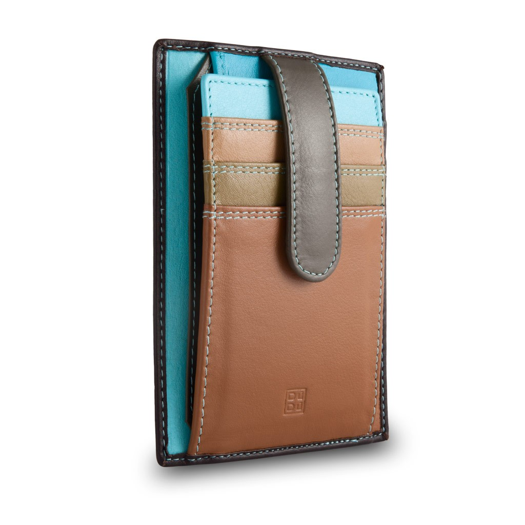 DuDu Compact multi color credit card holder wallet - Dark Brown