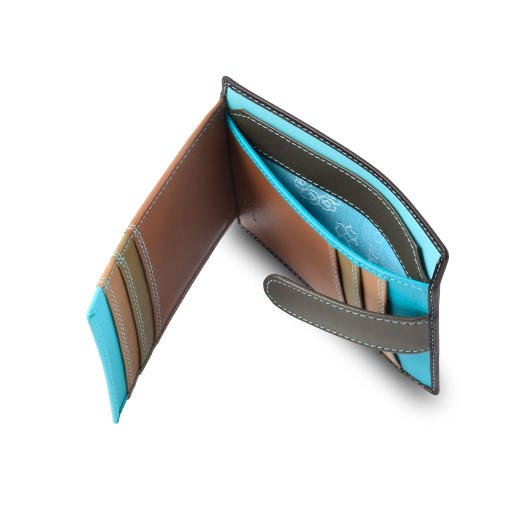 DuDu ארנק קומפקטי צבעוני לכרטיסים - חום כהה