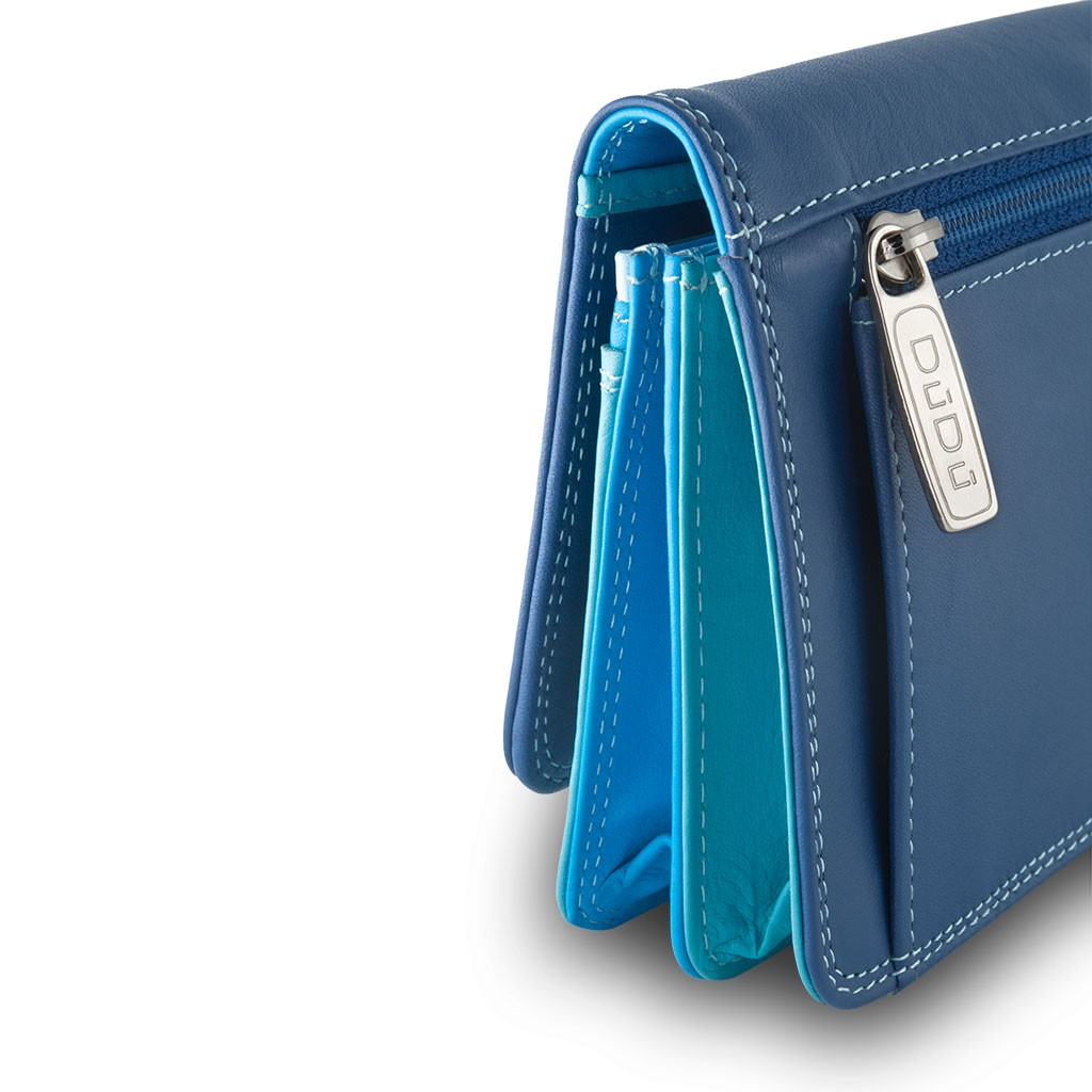 DuDu Womans leather multi color wallet with flap - Blue