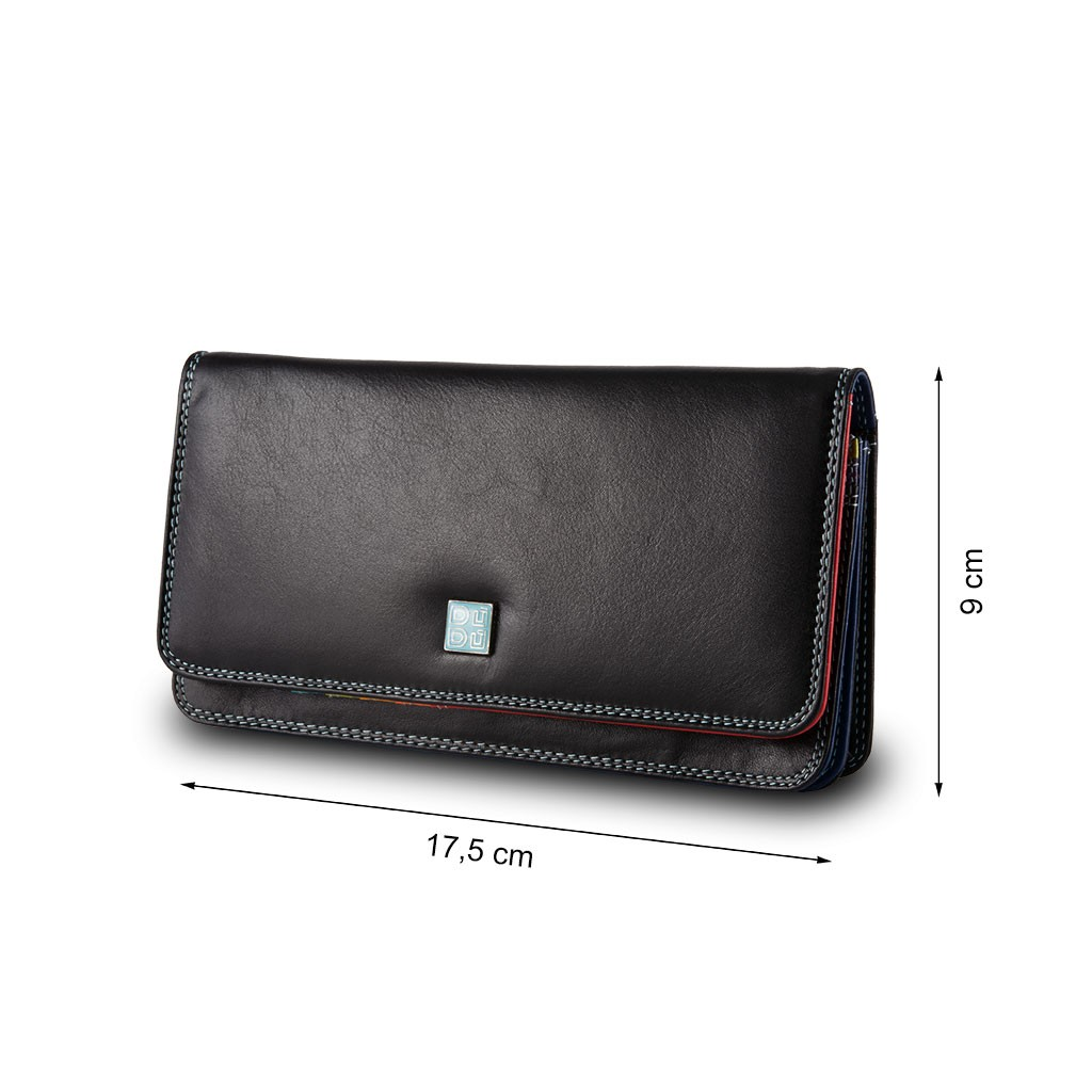 DuDu Womans leather multi color wallet with flap - Black