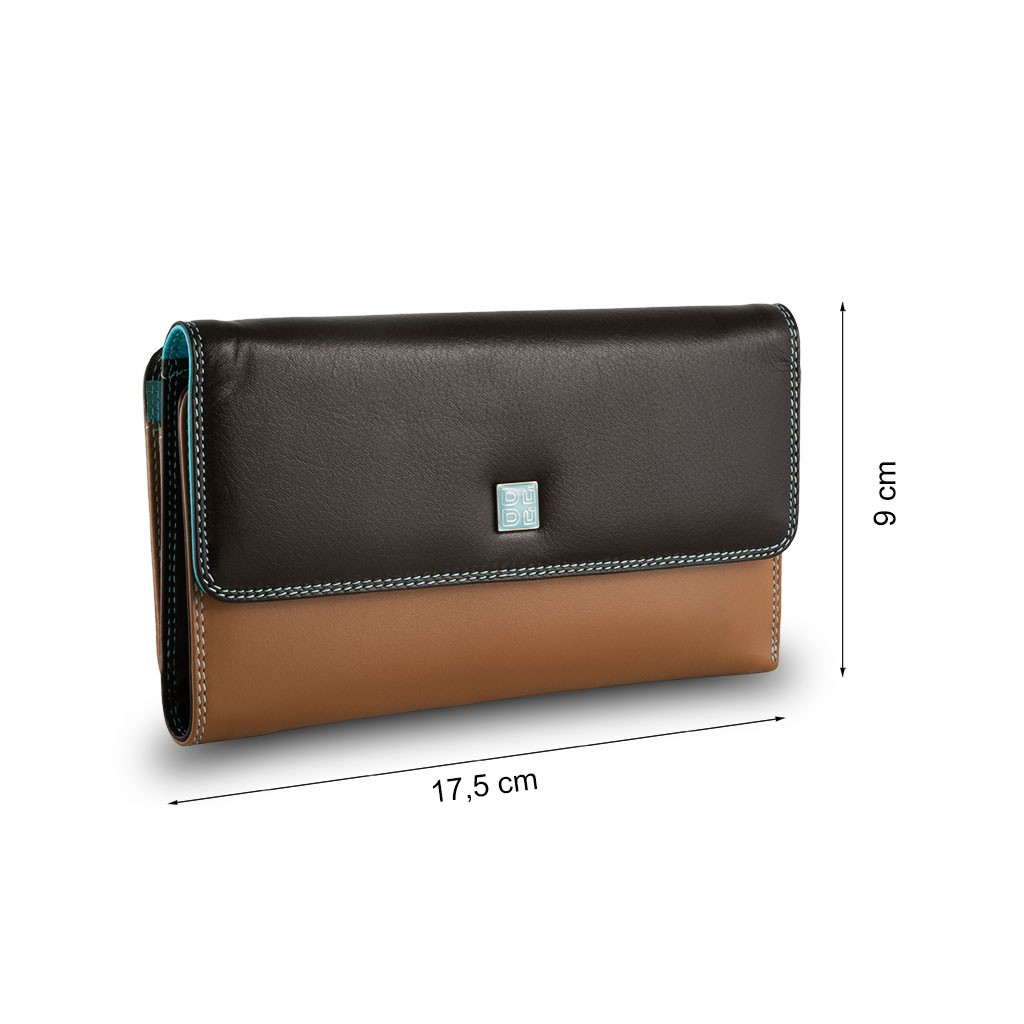 DuDu Womans Tri-fold leather multi color wallet with external coin carrier - Dark Brown