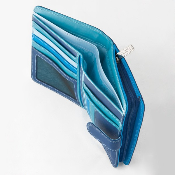 DuDu Leather multi color wallet with external coin carrier - Blue