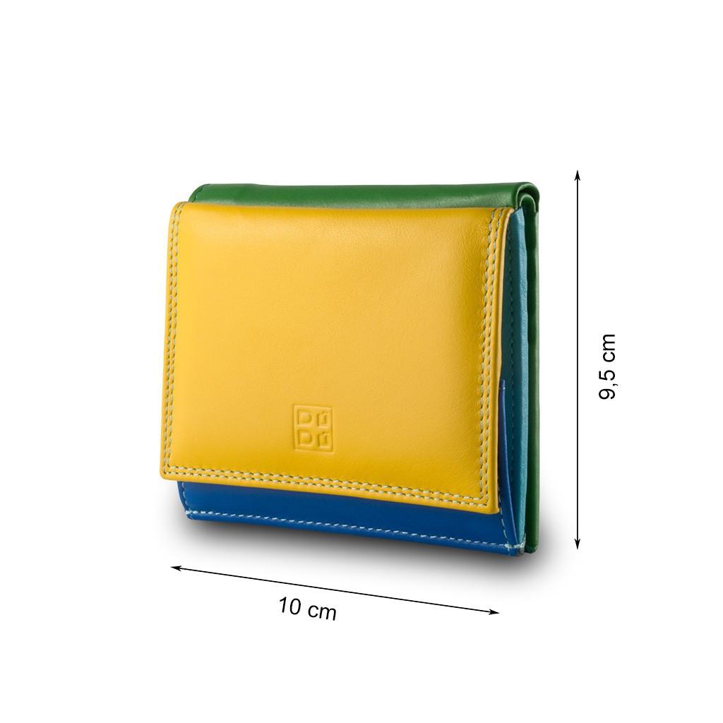DuDu ארנק עור צבעוני עם תא ייחודי למטבעות - צהוב
